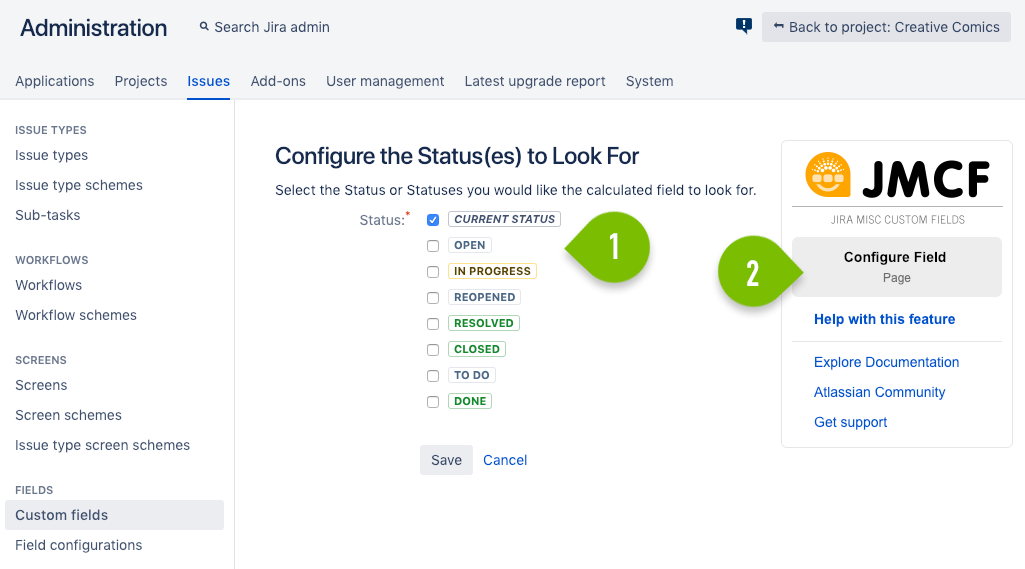 Configure the Status(es) to look for
