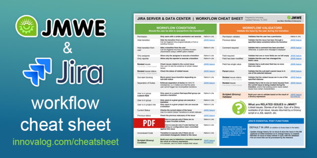 Workflow extension cheat sheet for Jira Server and Data Center